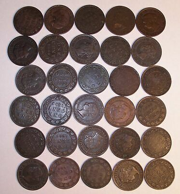 Lot of 30 Queen Victoria 1859 to 1901 CANADA Large Cents coins NICE