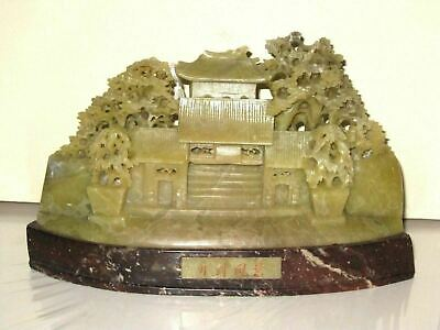 Chinese Export Hand Carved Soapstone Pagoda Tree Landscape Statue Sculpture