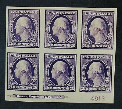 CKStamps: US Stamps Collection Scott#345 3c Block Mint OG Gum Dist