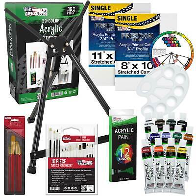 39-Piece Acrylic Painting Set with Table Easel, Canvas, 12 Colors & Brushes