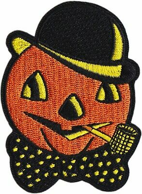 Golden Pumpkin Iron On Embroidered Patch Classic Retro Halloween Misfits