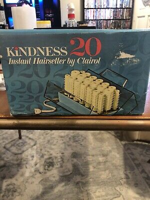 Clairol Kindness Instant Hairsetter 20 Wax Core Hot Rollers Curlers Clips