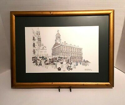 Helen McDermott Signed Framed Print Drawing of Faneuil Hall Boston 1988 Pen Ink