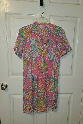 Lilly Pulitzer Sz S Bright Colorful Shell Print Shirt Dress GUC