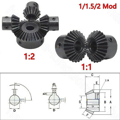 1/1.5/2 Mod Bevel Gear 15T-30T Bore 5/6/6.35/8/10/12/14-25mm 90° Pairing 1:1 1:2