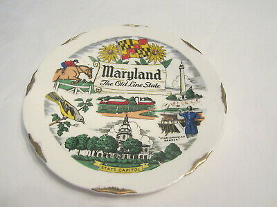 THE OLD LINE STATE  Maryland Decorative Wall Hanging Collector Plate Vintage EUC