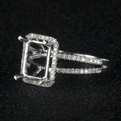 Solid 14K White Gold Antique Cushion Semi Mount Natural Diamond Engagement Ring