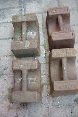 4  X  28lb Scale Weights Cast Iron.