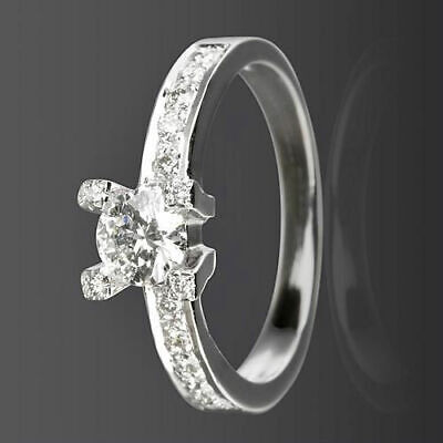 Solitaire And Accents Diamond Ring 14K White Gold Natural Vvs1 Size 4.5 6 7.5 9