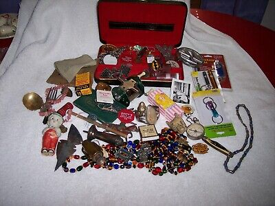 Junk Drawer Lot Vintage Coins Military Tools Knives Spoons Car Emblems Jewelry
