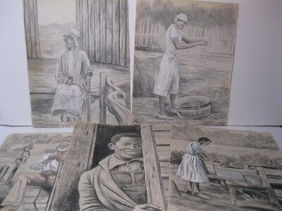 Collection Of 1965 South Carolina Drawings Of Blacks Signed Lady Bird Cleveland
