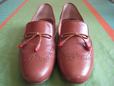 TRUMAN'S SLIPPER Loafer Budapester Leder 38 Cognac Braun so