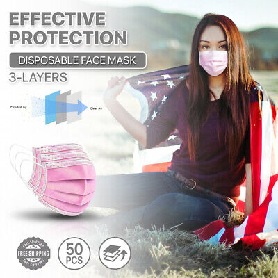 [Pink] 50/100 Pc 3-Ply Disposable Face Masks Non-Medical Surgical Earloop Cover