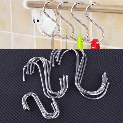 5pcs Stainless Steel S Hook Pot Hanger Heavy Duty Polished Metal Hooks