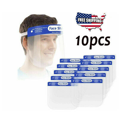10pcs Safety Face Shield Clear Cover Tool Mask Anti-fog Eye Helmet Face Guard US