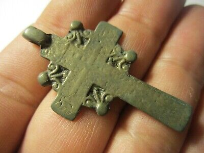 Ancient Bronze Cross Rare. Religious Artifact 17-18 Century. К87