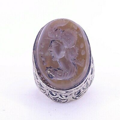 Roman Antique Bronze  Silver plated Agate Ring