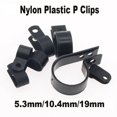 Plastic P Clips 50x Hold Down Cables Pipes Black Nylon 19mm 3//4