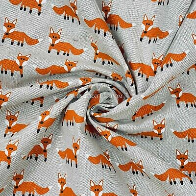 """Orange Foxes Linen Fabric Tote Handbags Craft Quilting Dress Cushions Sewing 54"""""""