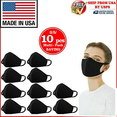 10Pcs Washable Cotton Face Mask Reusable Black Made In Usa 3/5/10 Pcs In 1 Pack