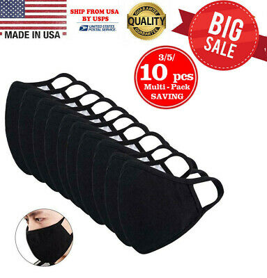 Washable 100% Cotton Face Mask Reusable, Black - 10 Pcs in 1 Pack, MADE IN USA