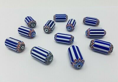 FANCY GLASS BEADS WHITE WITH GOLD SAND SWIRL DESIGNS SIZE MIX 25 PCS FG17