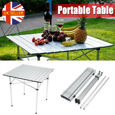Aluminum Roll Up Table Folding Camping Outdoor Picnic Party BBQ 70x70cm UK STOCK