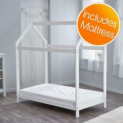 Wooden Toddler Bed House White + Fully Sprung Mattress