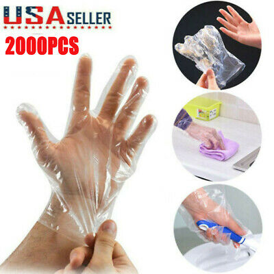 2000Pcs Food Service Gloves Home Plastic Clear PE Safety Work Sanitary Gloves