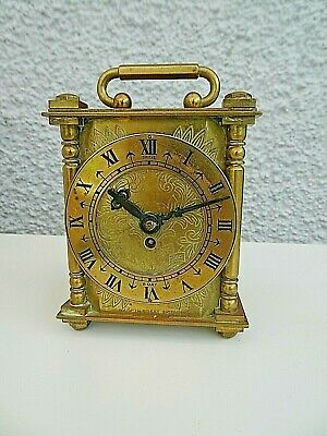 Antique Smiths 8 Day Brass Engraved Design Carriage Clock Original Winding Key