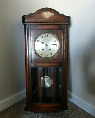 Antique Early 20th Century Solid Oak Wall Clock with Chime Pendulum & Key (Time)