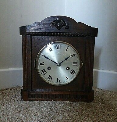 Antique Early 20th Century HAC Carved Oak Mantel Clock with Chime Key & Pendulum