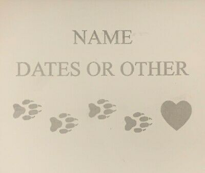 "Personalized Pet Memorial Marker 7 7/8"" white custom info etched paws  heart"
