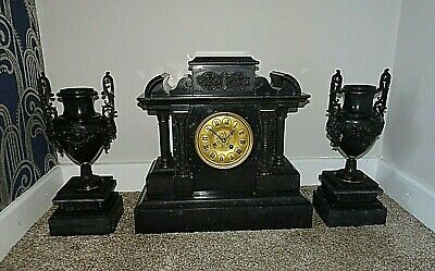 Antique 19th Century Victorian Architectural Slate Mantel Clock with Garniture