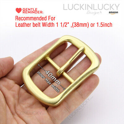 1 1/2 Brass Classic Center Bar Pin Belt Buckle for Leather Belt Fit 40mm Strap