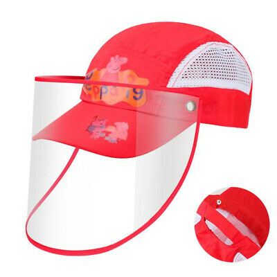 Red Pig Safety Face Shield Bucket Hat Fisherman Cap For Kids Anti Spitting US