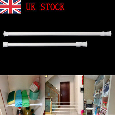 UK Spring Load Extendable Telescopic Net Voile Tension Curtain Rail Pole Rod )