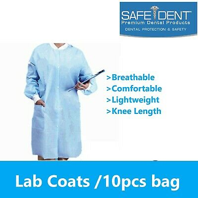 Dental / Medical 10 Disposable Easy Breathe Lab Coat Knee Length SafeDent Unisex