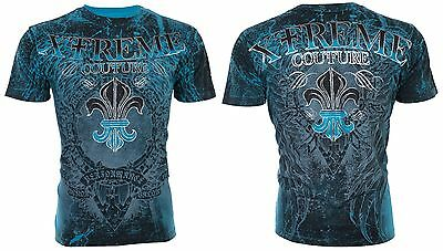 XTREME COUTURE by AFFLICTION Mens T-Shirt HONORABLE Wings BLUE Biker MMA $40