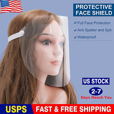 US Safety Full Face Shield Clear Protective Cover Face Anti-Splash Plastic Visor