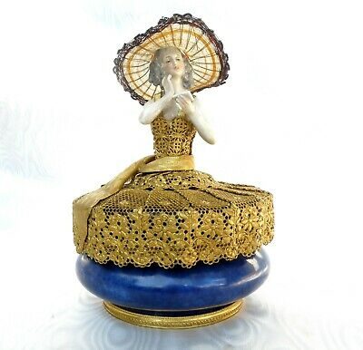 SEVRES Splendid Antique Powder Container with Figure of Lady on the Lid
