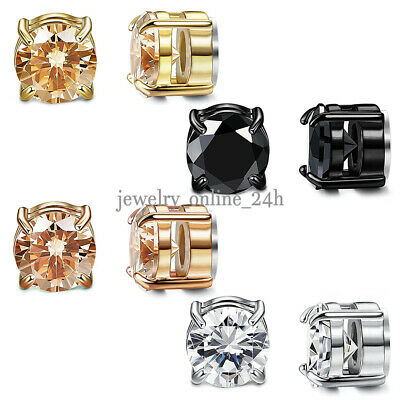 Mens Womens Stainless Steel Round CZ Magnetic Stud Earrings Non-Piercing Clip On