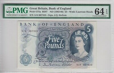 B297 J.q.hollom A14 Five Pounds Banknote 1963 Pmg Graded 64 Choice Uncirculated.