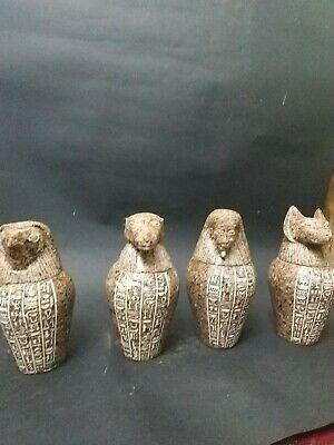 Antique  Canopic Jars Ancient Egyptian  Set of 4Granit Decorative Collectibles,
