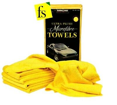 Kirkland Signature Ultra Plush Microfiber 40CM Towel & Soft Cloth Yellow 12Pack