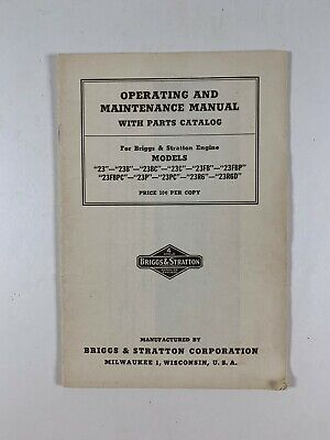 Operating & Maintenance Manual Parts Catalog for Briggs & Stratton Engines  PA-3