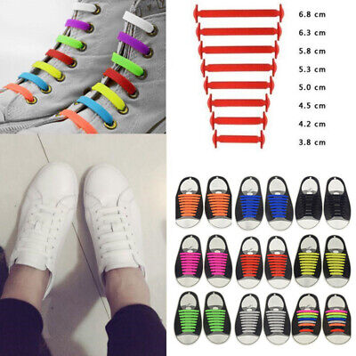 Easy No Tie Elastic Silicone Shoe Laces For Adult Kids Trainers Shoes Canvas 16x