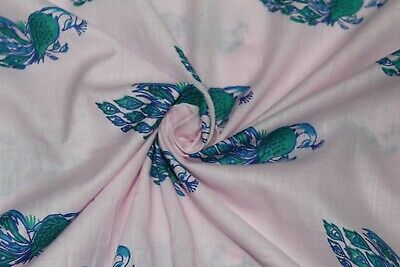 Rich Peacock Stretch Cotton Fabric Dressmaking French Cotton Jersey Plain