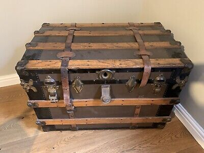 Large Antique Victorian Dome Topped Trunk / Travel Chest Steamer Trunk