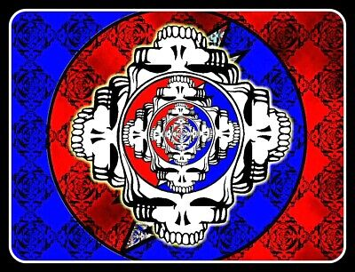 "4.5"" Grateful Dead Steal Your Face Four Way vinyl sticker. Hippie decal for car."